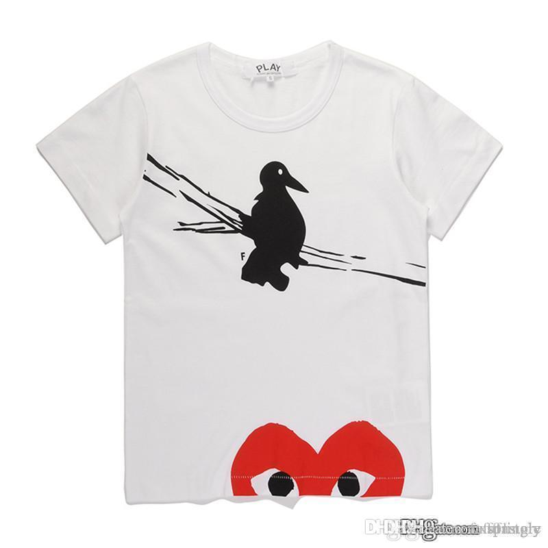 2018 COM Лучшее качество белого цвета New play 1 Unisex CDG Play Повседневный хлопок с сердечком Homme Bird Red Heart базовая футболка с коротким рукавом