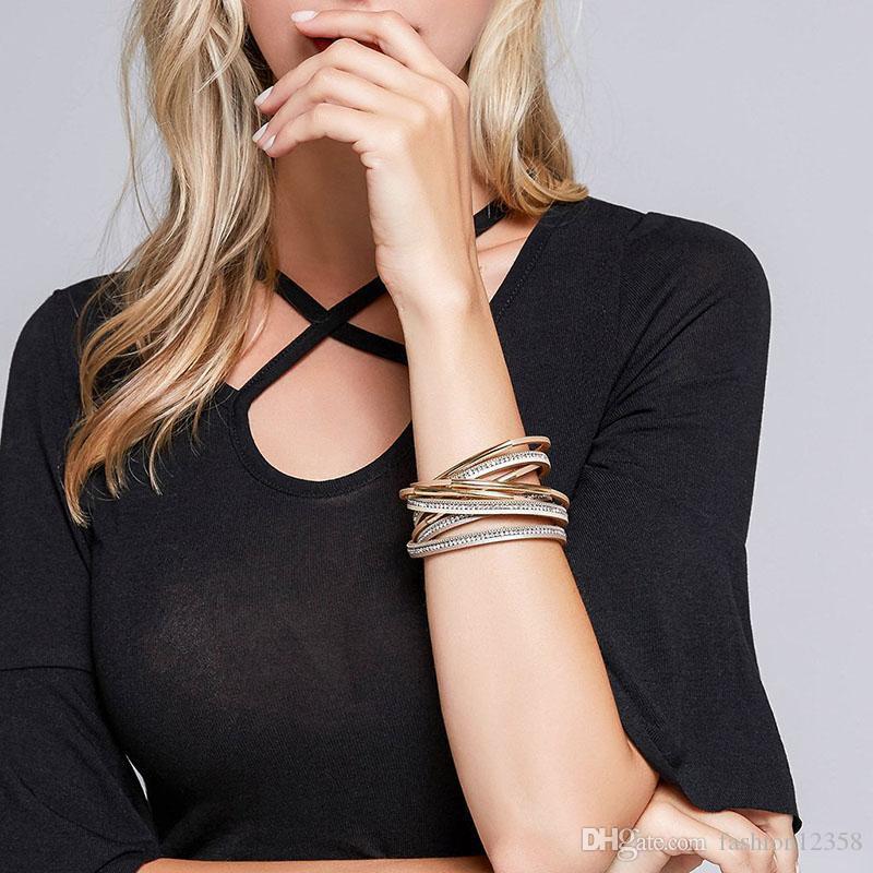 Neue Mode Multilayer Wrap Leder Armband Armreif für Frauen Trendy Kristall Open Cuff Armband mit Magnetschnalle Armbänder Schmuck