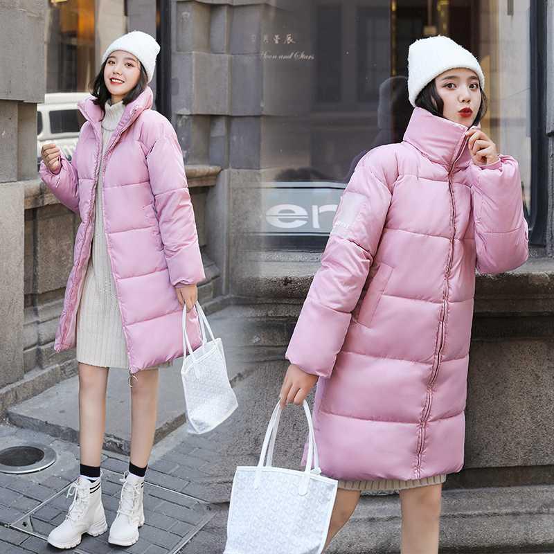 Winter-Frauen Jacke Parkas Mantel 2019 New verdicken warme lange Jacke beiläufiger Stil festen Stehkragen weiblicher Parka Schnee outwear