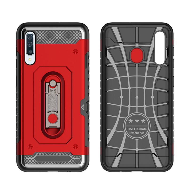 Stoßfeste Hybrid schlankes Mobiltelefon-Kasten für Samsung-Anmerkung 10 Plus-note10 Schutzhülle mit Metallstandplatz-Karten-Slots 6 Farben 100pcs