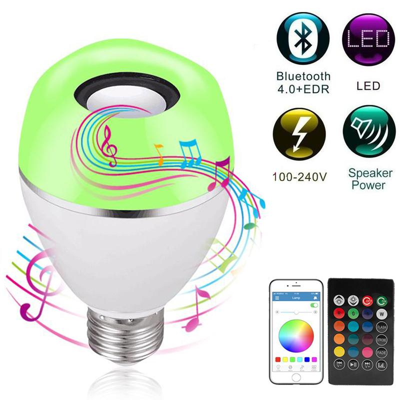 E27 12W RGB LED Bulb Lights Intelligent App Bluetooth Speaker Music Light Bulb Dimmable Smart Bulb Light Party Stage Light Remote Control