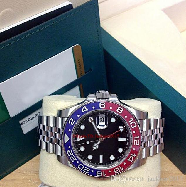 원래 상자 인증서 남성 시계 126710 BLACK DIAL BLUE / RED 세라믹 베젤 아시아 2813 운동 자동