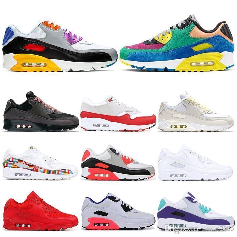 90 mens progettista scarpe uomini donne 30 ° anniversario casuale Viotech essere vero infrarossi nero bianco rosso blu uva da tennis di sport 36-45