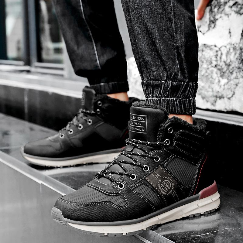 Genuine Leather tenere in caldo Lana Stivali invernali molle di alta qualità comodo antiscivolo peluche neve stivali da uomo Scarpe da lavoro Stivali 2019