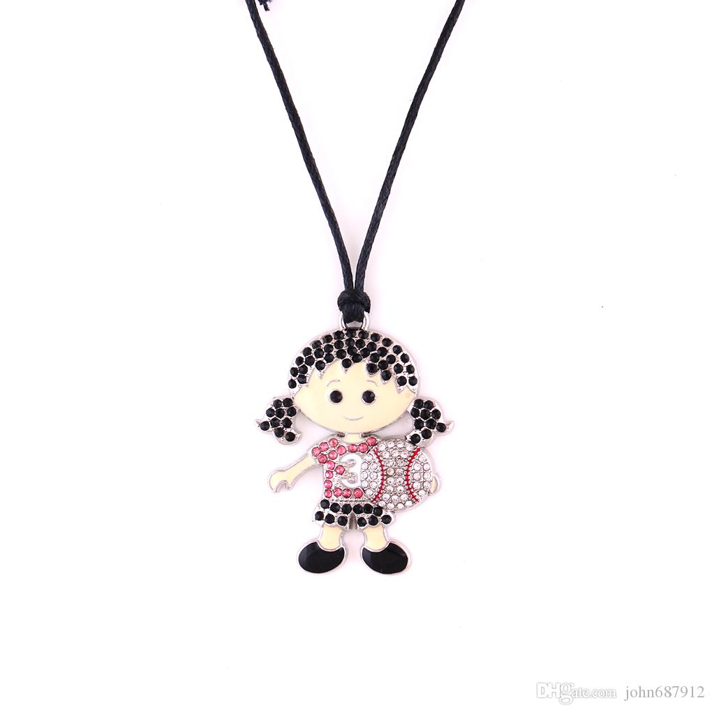 Huilin wholesale black wax rope necklaces and cute baseball girl with jewelry necklace with multicolor crstle jewerly pendant for gift