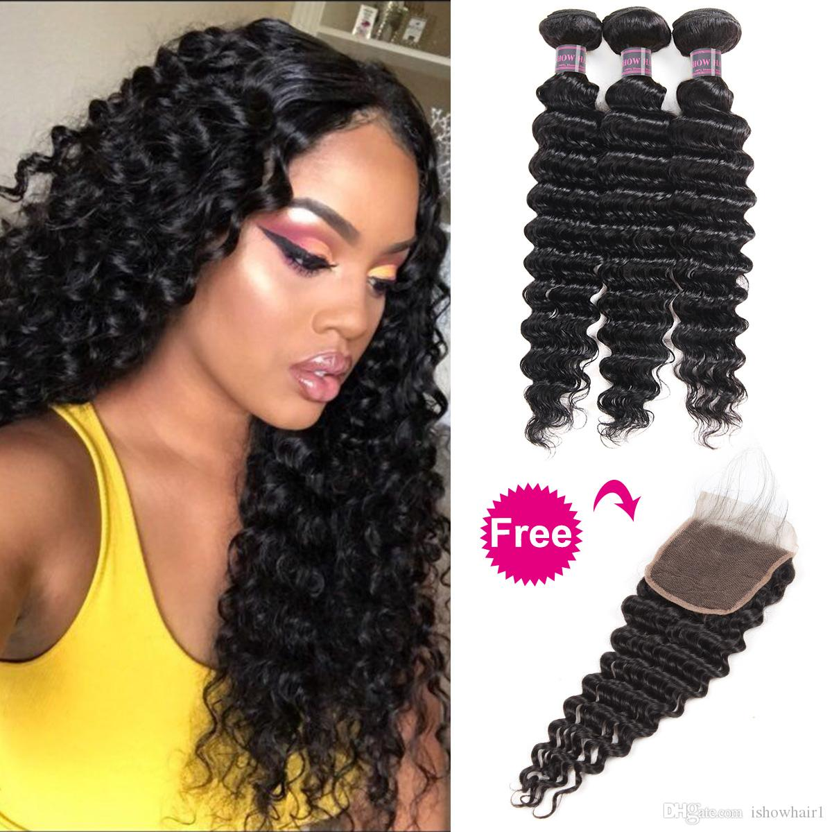 Peruvian Human Hair Bundles with Closure Buy 3Bundles Get A Free Closure Deep Loose Loose Wave Yaki Indian Straight Deep Wave Body Water