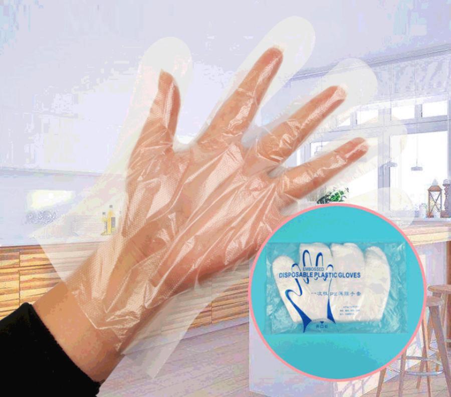 Одноразовые полиэтиленовые перчатки пластиковые перчатки ясно домашняя кухня очистки пищи многофункциональный противоскользящие перчатки 100 шт. / лот FFA3697