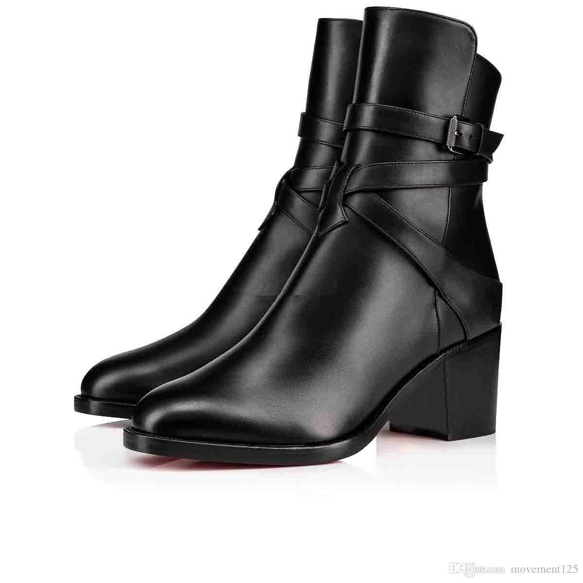 İnce Bayan Çizme Siyah Dana derisi Gerçek Deri Kırmızı Alt Bilek Boots For Women Karistrap Stil Yüksek Blok Topuk Boot Ayak bileği Boot ile Kayış