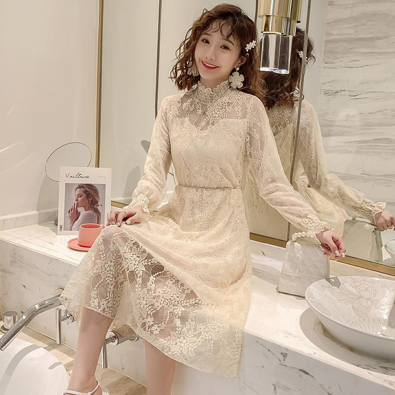 2020 Maternity clothing summer twinset lace maternity one-piece dress white embroidery dress For Pregnant