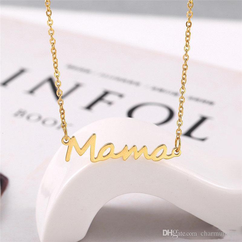 ماما خطابات قلادة الفولاذ المقاوم للصدأ أمي الطفل lockbone سلسلة قلادة قلادة مجوهرات هدية عيد الأم الفضة الذهب ارتفع الذهب الألوان