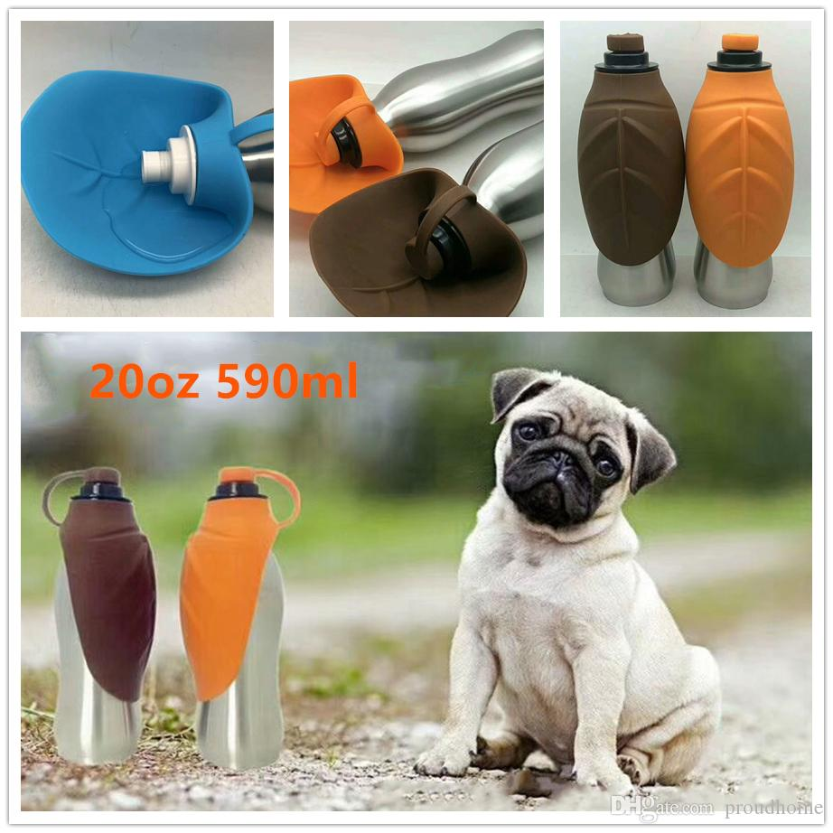 590ml 20oz Pet Dog Water Bottle Stainless Steel Feeder For Small Large Dogs Travel Puppy Cat Drinking Bowl Outdoor Dispenser Free epacket