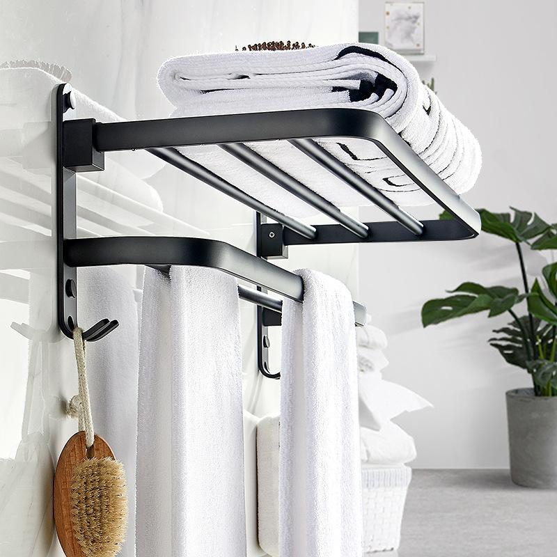 Black Matte Space Aluminum Movable Bath Towel Rack Set 50cm Portable Bathroom/Kitchen Storage Racks Towel Holders Wall Mount T200506