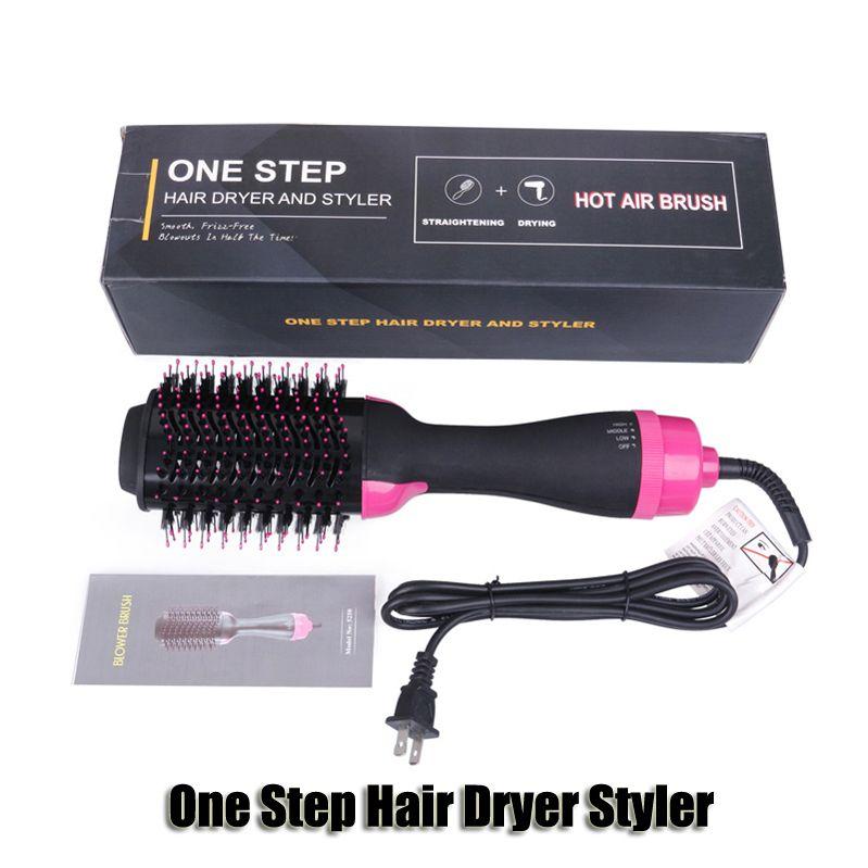 خطوة واحدة مجفف شعر الطراز فرشاة Volumizer ضربة فرد بكرة الشعر صالون 4 في 1 الرول الكهربائية الهواء الساخن الشباك الحديد مشط جودة عالية