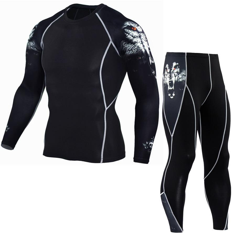 Yeni Erkekler Spor Suit Sıkıştırma Giyim Spor Egzersiz Birliği Suit Kamuflaj Takım Elbise Fieece Eşofman Termal İç Giyim