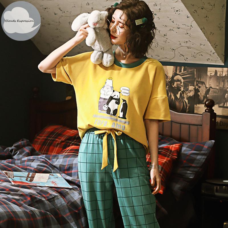 Set Camicie da notte pigiama di estate del cotone lavorato a maglia Donne Abiti pantaloni del fumetto pigiama femminile Imposta Mujer Pigiameria Lounge Home Abbigliamento