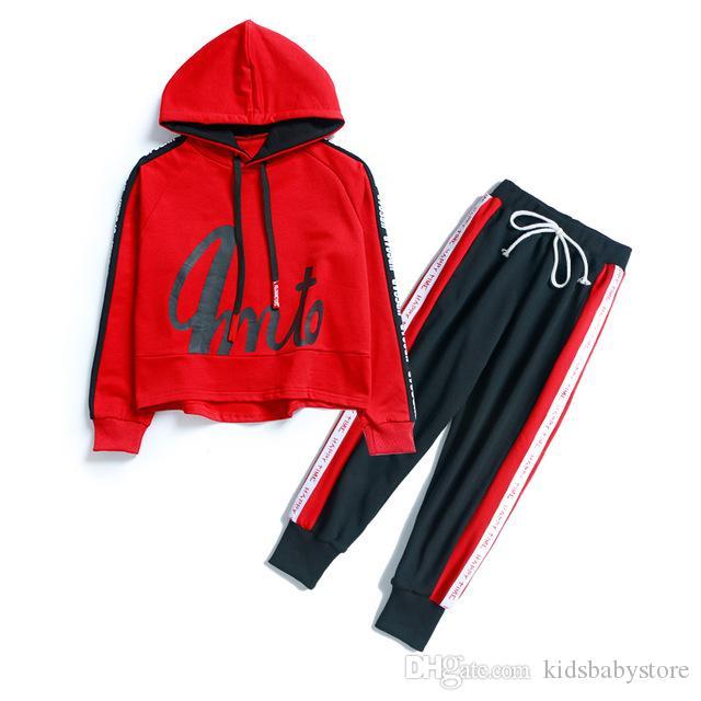 Conjunto de ropa de chándal suelto de diseño para niños de moda para niños Sudadera con capucha para niños Abrigos de manga larga Tops + Pantalones para niños