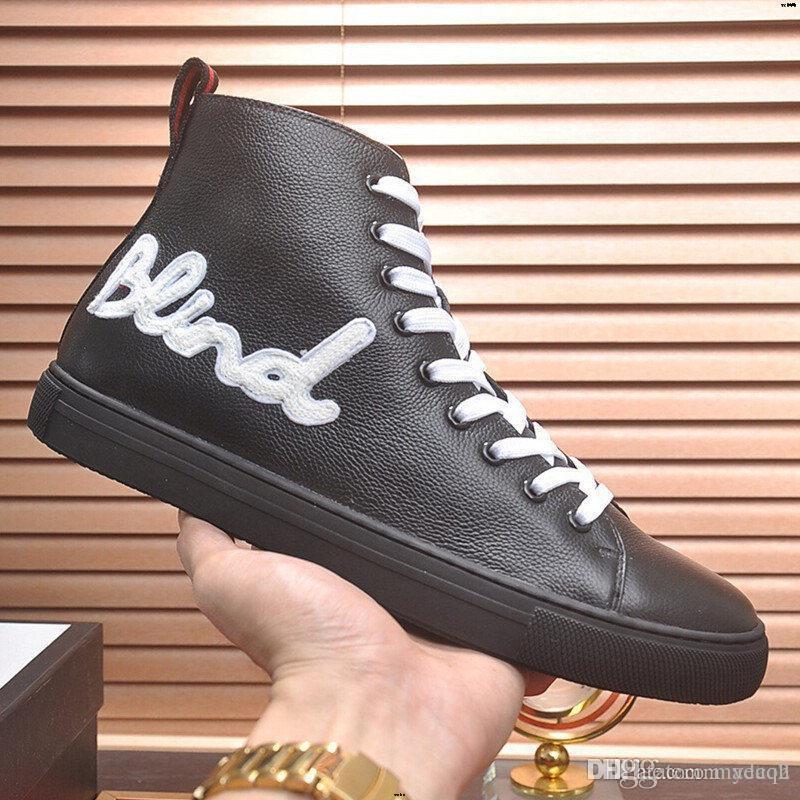 18SS Hommes Chaussures de toile de luxe Formateurs Bottines lacées Casual Sneaker Marque haut-TOP Flats Homme Noir Chaussures Madah