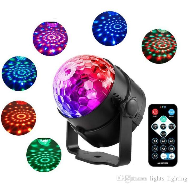 Remote control small magic ball Mini LED crystal magic ball light Stage laser light rotating colorful flashing projection lamp