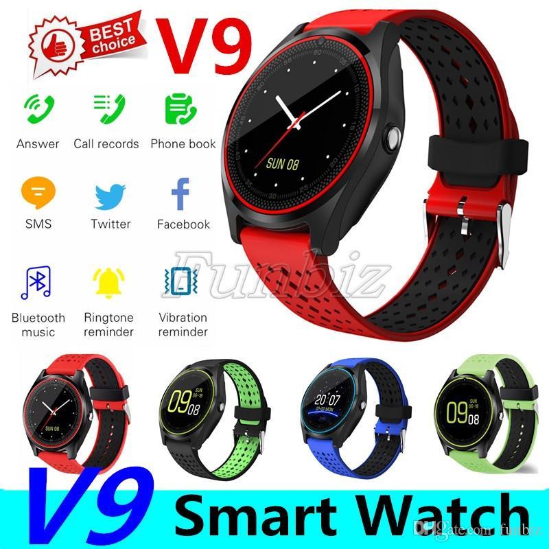 V9 smartwatch android SIM Intelligent mobile phone watch Pedometer Health Sport Clock Hours Men Women Bluetooth Smart watches