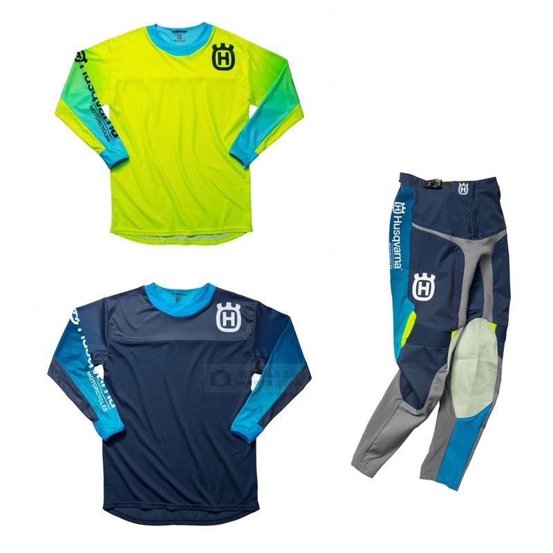 Pour 2019 Husky Husqvarna style Hommes Motocross Costume Motobiker Racing Jersey Riding + Pantelons MX combinaison d'équitation J