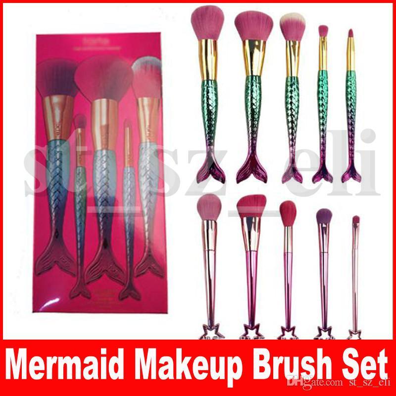 Mermaid Makeup Brushes set 5pcs/set High-Performance brushes Powder Foundation Blusher Eyeshadow Makeup tools