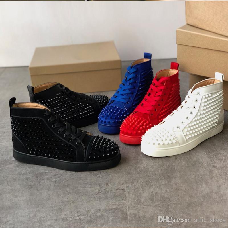 2020 Шипы красных нижних кроссовки мужских ботинок кожаных вскользь тренеры обуви Pik шипованных кроссовок Пик мода партия Свадебная обувь с коробкой