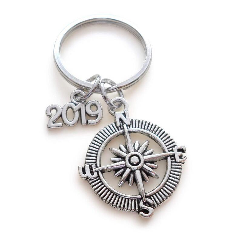 50PCS Vintage Silvers Charms boussole trousseau anneau pour les greetings de clés de voiture Porte-clés de Noël Sac Nouvel An cadeau de graduation porte-clés