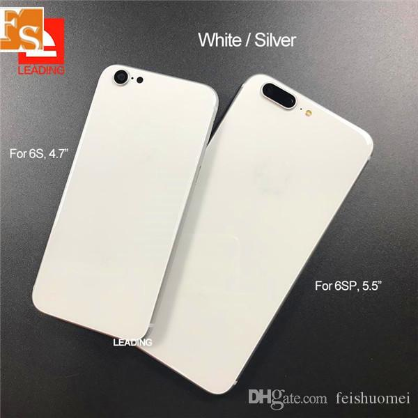 آيفون 6 استبدال 6P 6S 6SP 7 7P زائد الغلاف الخلفي للإسكان مثل اي فون 8 أسلوب معدن غطاء الزجاج الخلفي مع أزرار