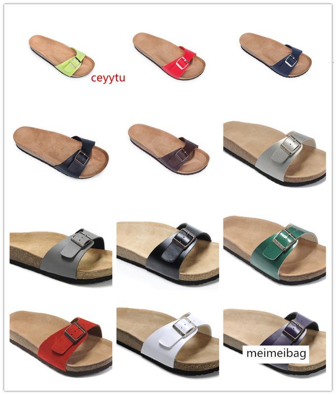 Boken Высокого качества Марк Брик Мадрид обувь из натуральной кожи для мужчин женщин Оптовой квартир Корка сандалии случайных пляжных тапочки с пряжкой
