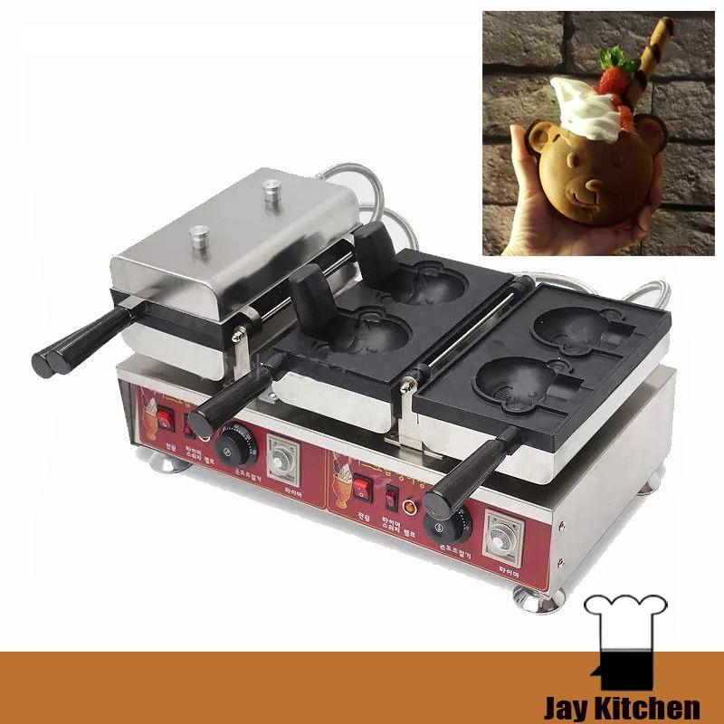 Açık Ağız Ayı Şekli Waffle Makinesi Dondurma Waffle Koni Makinesi Taiyaki Makinesi Ticari Elektrikli Waffle Koni Makinesi