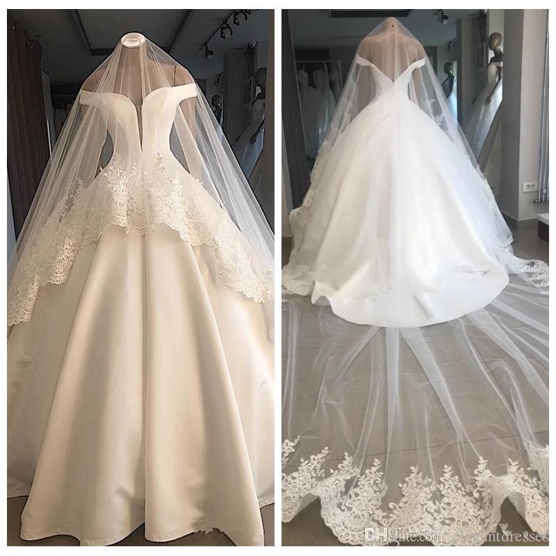 Kapalı Omuz Balo Gelinlik Basit Saten Gelin Törenlerinde 2021 Mütevazı Resmi Ince Vestidos De Evlilik Artı Boyutu Uzun Backless