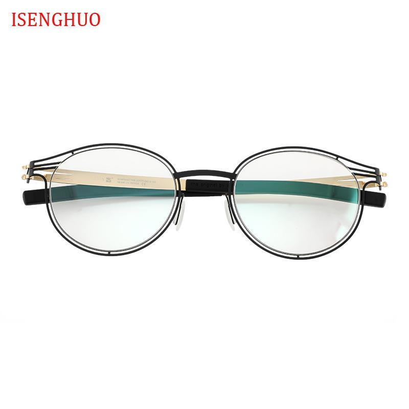 ISENGHUO لا برغي نظارات إطارات نظارات شمسية الجوف MEN المرأة النظارات الإطار Gafas دي غراو