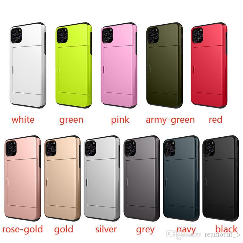 For iPhone XS Case Dual Layers Protector with Card Slot 2 In 1 Case For Iphone 11 Pro Max 7 Can Be Customized