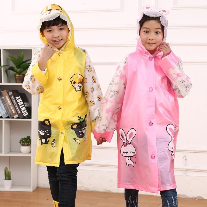 الأطفال شفاف لطيف معطف واق من المطر الفتيان والفتيات الطفل حقيبة تلميذ معطف واق من المطر المعطف 2-6 سنوات