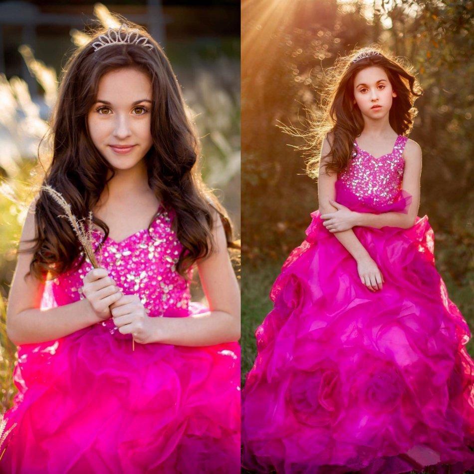 Fuschia Organza Ruffles Little Girl's Pageant Dresses with Beaded Off Shoulder Princess Party Flower Girls' Dress