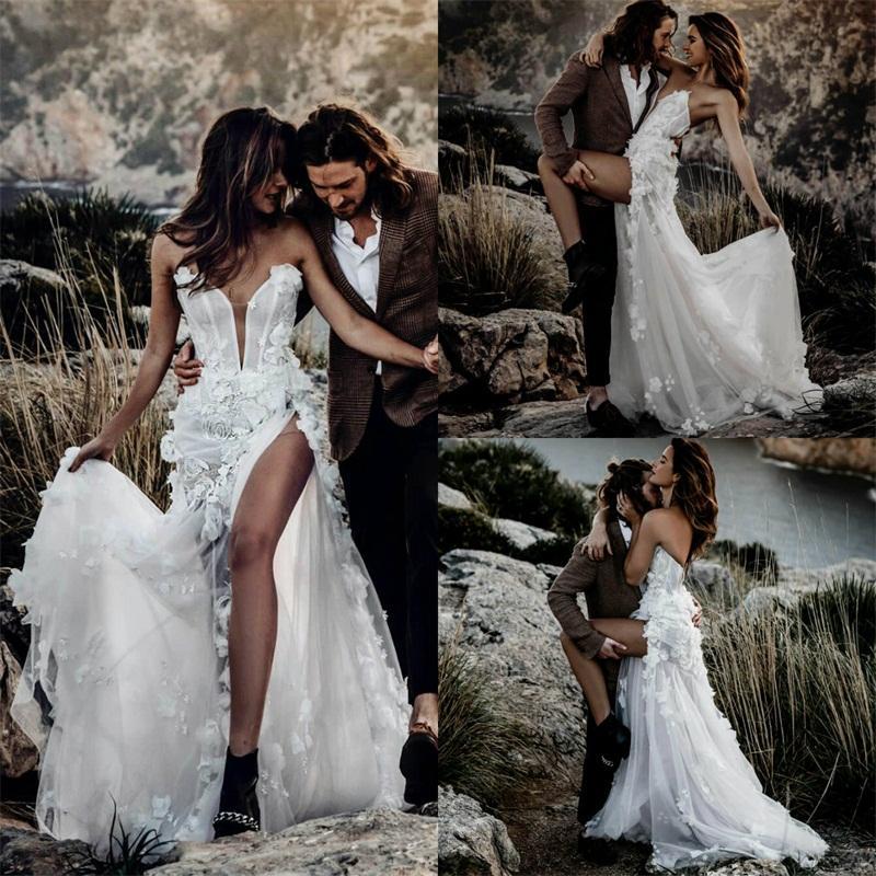 Alto divisão Boho vestidos de casamento Sexy Spaghetti Strap 3D-Floral Appliqued Lace Vestido de Noiva Praia mangas Varrer Train Robes De Mariée