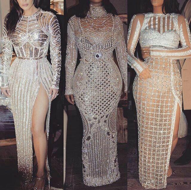 Evening dress Yousef aijasmi Kim kardashian Charble zoe Elie saab Sheath Long sleeve Silver Crystall Zuhair murad Kylie Jenner101