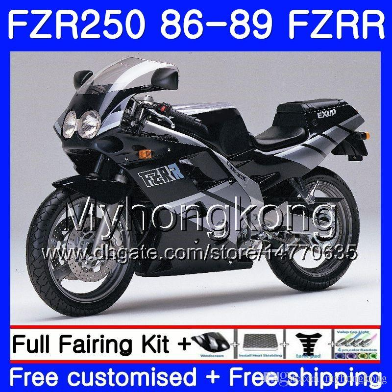 Lichaam voor YAMAHA FZRR FZR 250R FZR250 FZR250R 86 87 88 89 249HM.0 FZR250RR FZR-250 FZR 250 1986 1987 1988 1989 Verkortingsset hete glanzende zwart