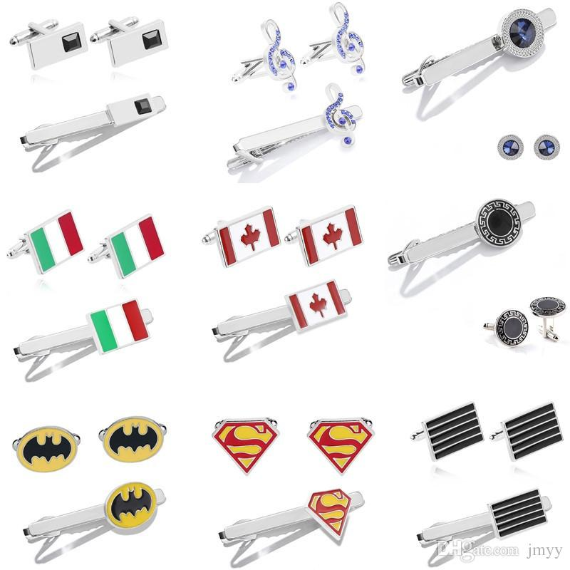 Cuff Link Tie Clip Sets Mix Design Necktie Tie Clips Crystal Alloy Clasp Clip Tie Clasps Batman Superman Silver Plated For Men Gift