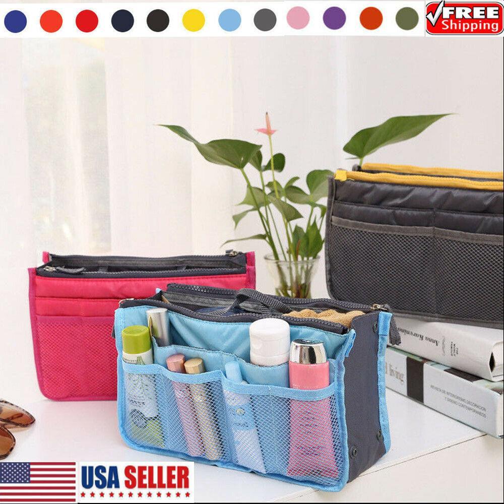 متعددة الوظائف حقيبة السفر عطلة إدراج منظم حقيبة يد المرأة سفر ماكياج محفظة محفظة الحقيبة المنظم