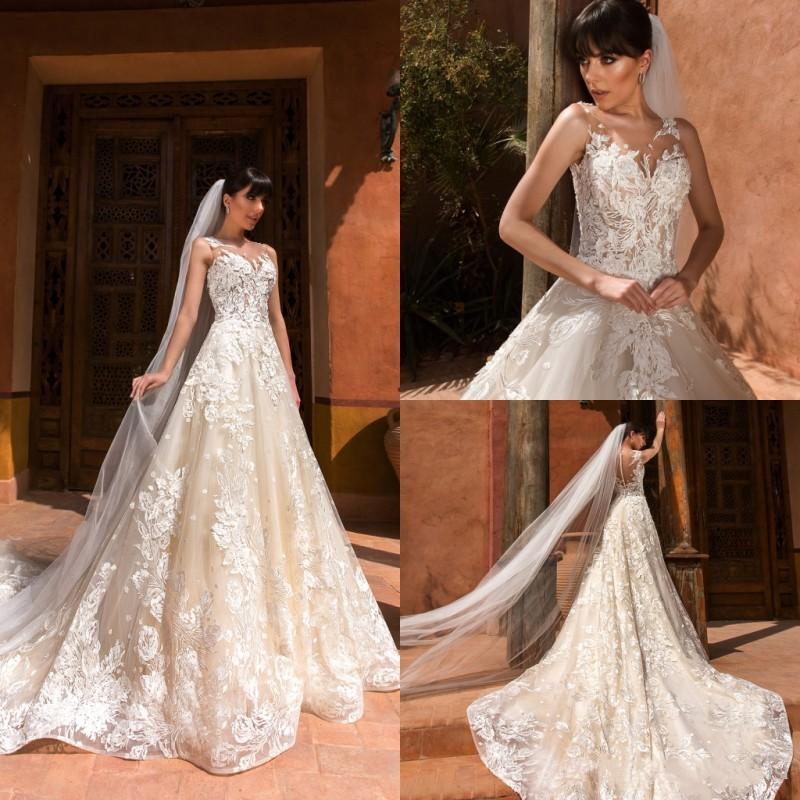 Marfil Appliqued los vestidos de novia de encaje 2018 Ilusión Sheer vestido de novia cuello de la joya vestidos de boda del traje de mariage