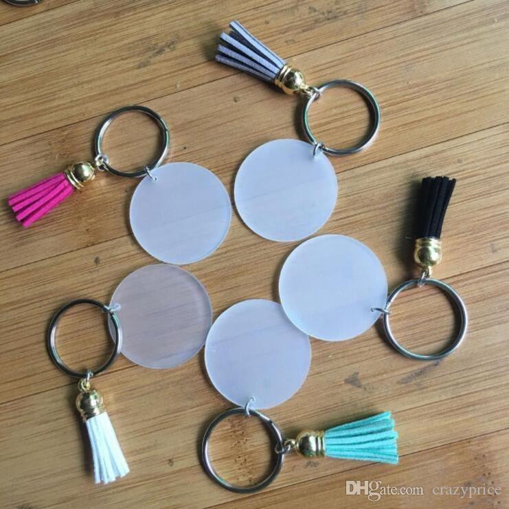 Kreative Schlüsselbund 4cm Blank Disc mit 3cm Suede Quaste Vinyl Keyrings verfügbar Monogramm Plexiglas Disc Tassel Schlüsselanhänger LXL911Q