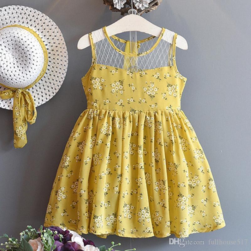vestido de flores bordado cabrito sin mangas de las muchachas del algodón floral de la niña vestidos de verano ropa de niña con la ropa a casa el sombrero