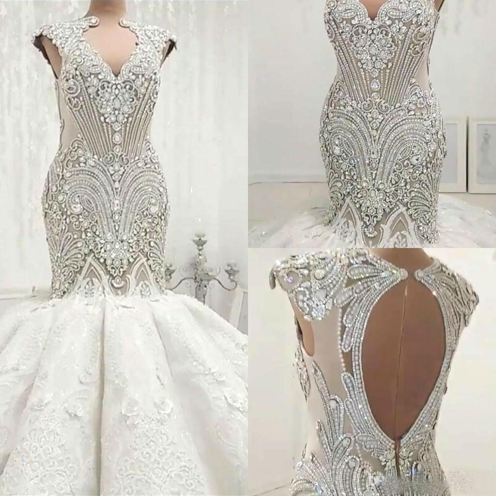 Luxury Mermaid Wedding Dresses Plus Size Crystal Beaded Lace Applique Vintage Wedding Dress Vestido De Novia Country Bridal Gowns