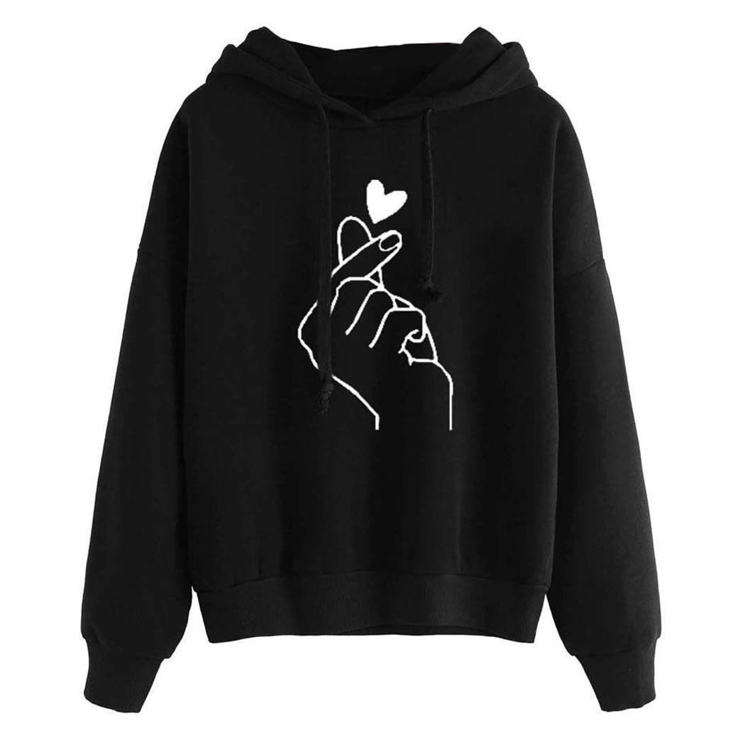 Harajuku Kawaii Pink Hoodies Women Love Heart Printed Hooded Sweatshirt Kpop Tops Cute Ladies Loose Pullover Streetwear Moletom MX190815