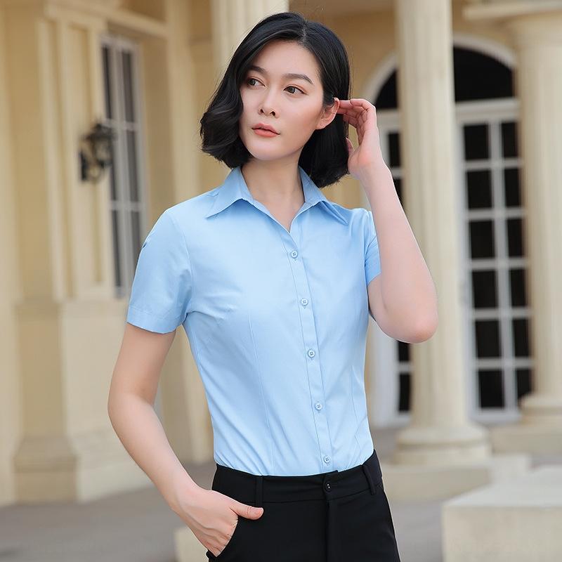 HJlMQ новых людей летом с короткими рукавами профессионального бизнеса-корейски дюйма рубашка белой формальная рубашки белых женщин