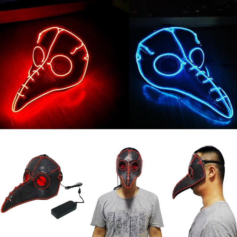 Fancy LED light up Party Plague Doctor Mask Bird Long Nose Cosplay Mask Gothic Steampunk Leather Halloween Mask