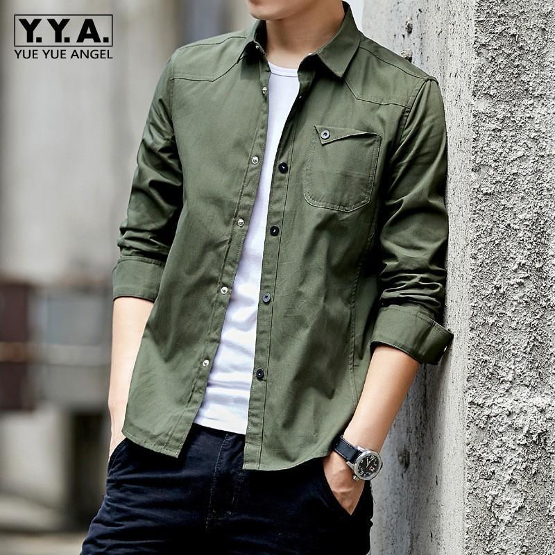 Cromoncent Men Contrast Color Fashion Lapel Neck Curved Hem Button Down Shirts