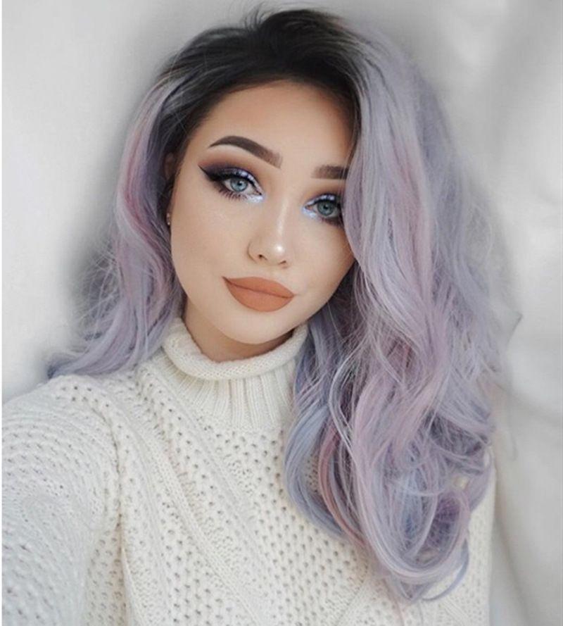 16 Waves Inch Synthetic Platinum Blonde longo cabelo natural Brown de várias cores Partido perucas para branco / preto Mulheres