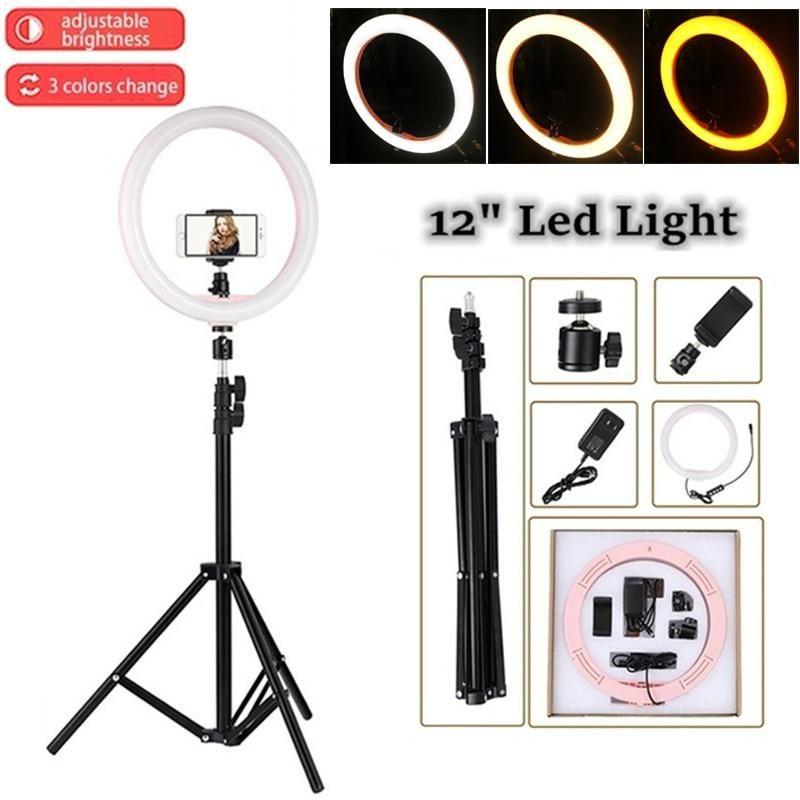 """Selfie LED الدائري ضوء 2700K-5500K 24 واط استوديو الصور 12 """"ضوء التصوير الفوتوغرافي عكس الضوء للهواتف الذكية مع حامل الهاتف حامل ترايبود 1.1 متر"""